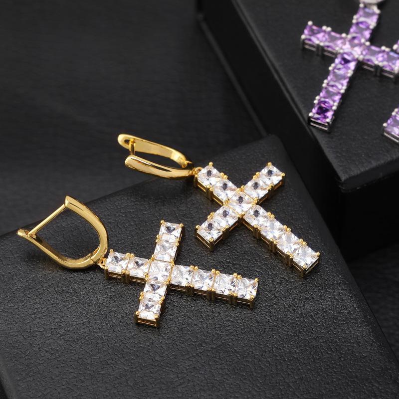 Designer de luxe bijoux Femmes Boucles d'oreilles Hip Hop Hop Haman Hommes Boucles d'oreilles Glaçons Diamond Cross Cross Hoop Oreilli Firmati des Boucles d'Oreilles Nouveau