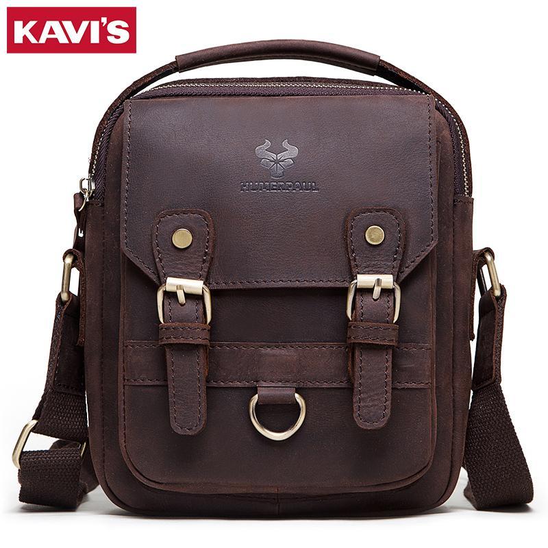 Kavis genuine vaca cuero hombres bolsas de hombro bolsa de mensajero bolso masculino negocio cruz cuerpo bolsos casual asas famosa marca