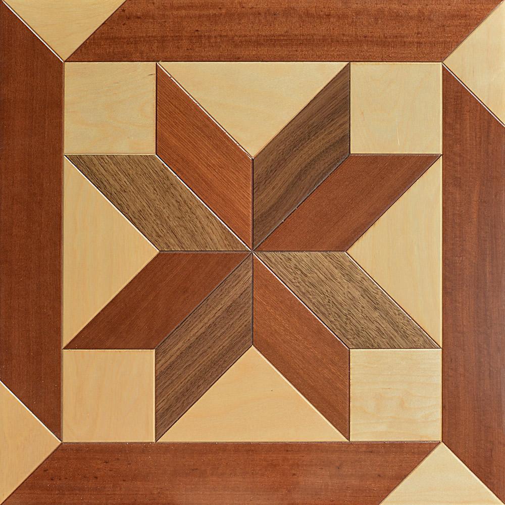 Semi Solid Hardwood floor Birch Parquet wood flooring furniture PVC medallion marquetry Polygon Decorative Black walnut Finished Home Panels Art Star Tile