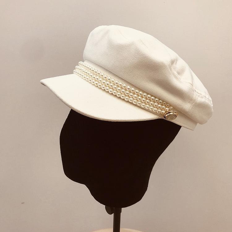 Cadena perla hermosa dama octagonal sombrero elegante mujeres clásico ocio visores gorra múltiples colores