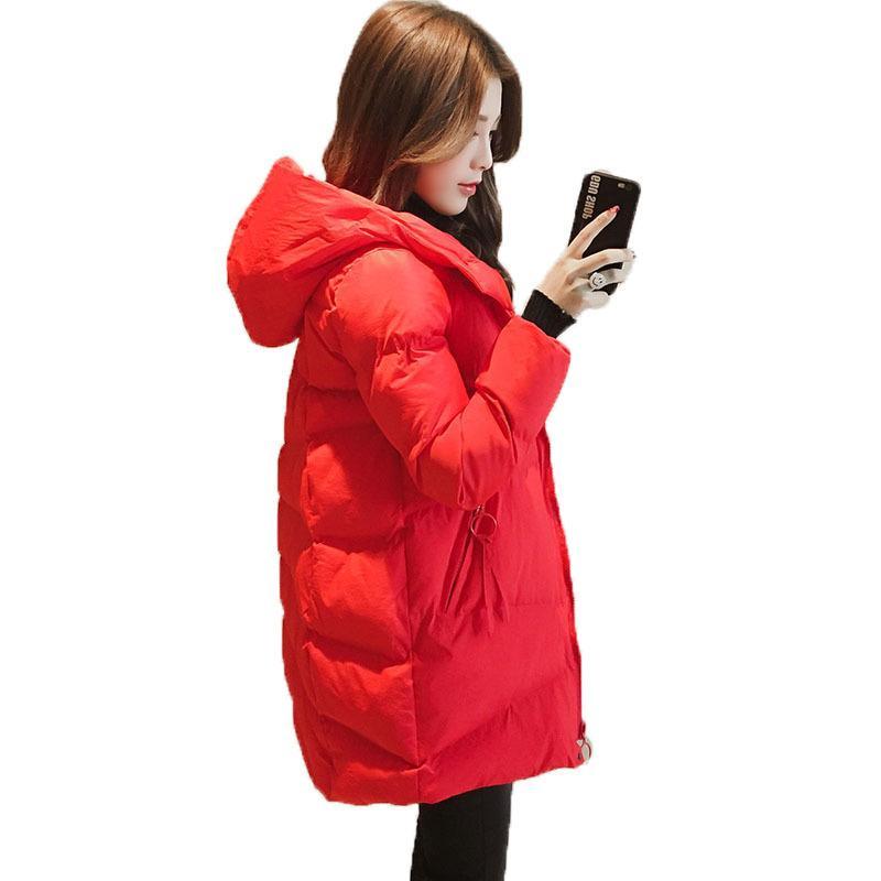 Pamuk Giysileri Kadın 2020 Yeni Pamuk-Yastıklı Ceket Kadınlar için Kısa Kırmızı Siyah Pamuklu Bez Kadın Gevşek Kış Ceket Parkas F1203 F1203