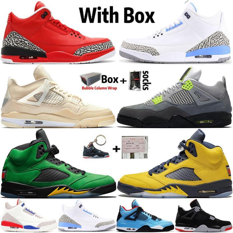 2021 Com Box Jumpman 4 4s Sail Black Cat Mens Sapatos de Basquetebol 5 5s Michigan Fogo Vermelho Red Grateful Sneakers Treinadores Tamanho 13
