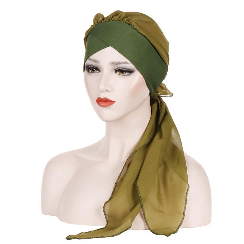 2021 novo inverno chapéu feminino cor pura chiffon cauda longa beanie cabeça cabeça quente tampas de praia chapéu adultos gorros sólidos