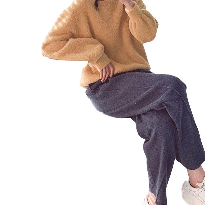여성 바지 Capris 2021 가을 봄 긴 니트 느슨한 단단한 높은 허리 넓은 다리 팬츠 드로잉 한국 스타일 여성 바지