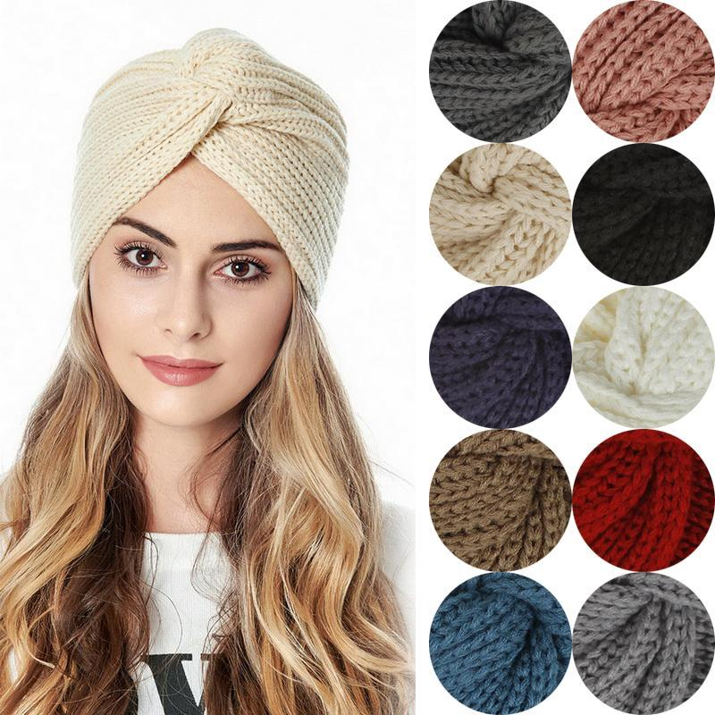 Beanie/Skull Caps Boho Style Women Knot Bandanas Fashion Knitting Warm Muslim Scarf 2021 Autumn Winter Turban Cap Solid Color Cross Headscar