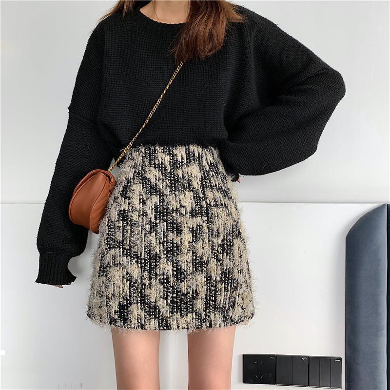 Sonbahar 2021 Yeni Tüvit Kadın Ince Renk Katı Moda Bayanlar Yüksek Kısa Etek Y408 C37N