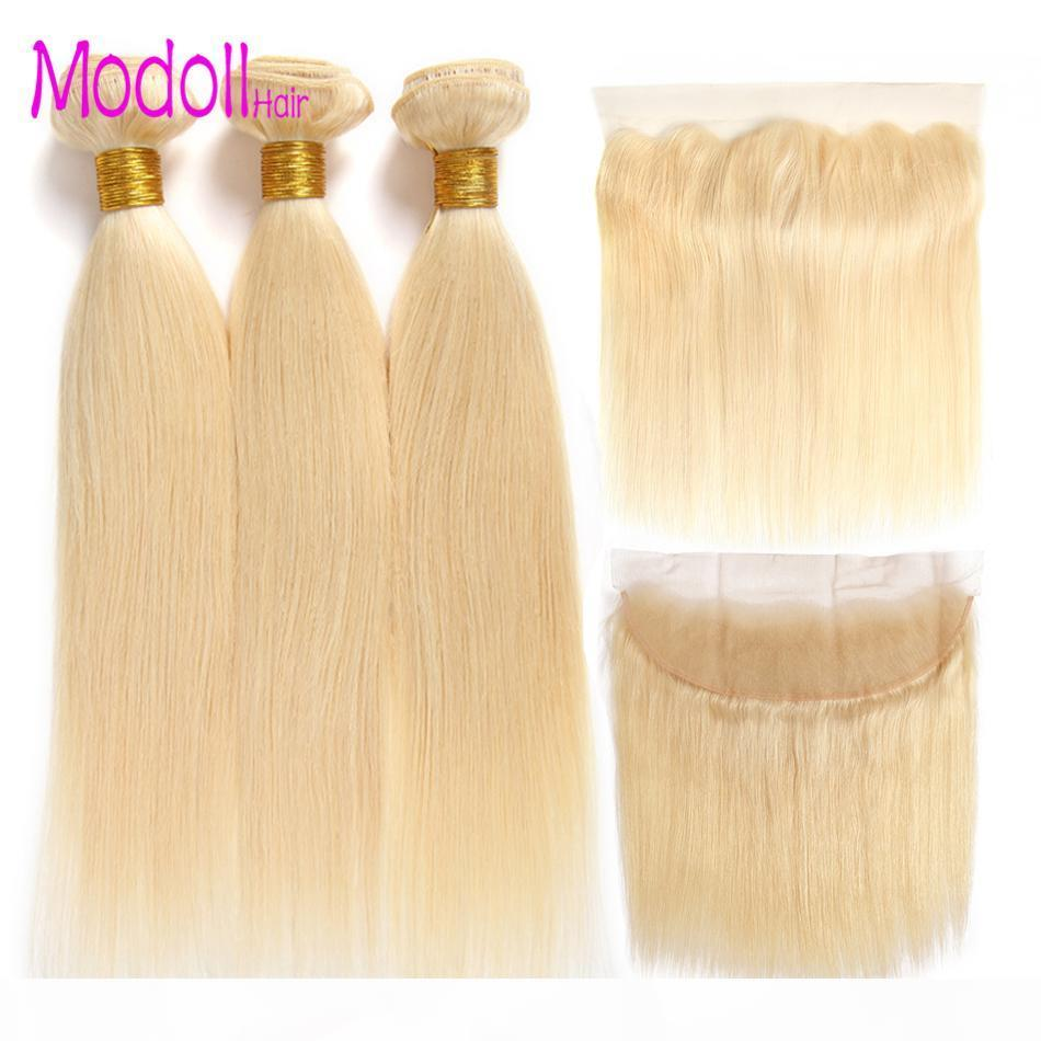 10A Modoll Cheveux 3 Bundles avec 13 * 4 Dentelle Fermeture frontale 100% Human Cheveux Tissin 613 Blonde Malaisienne Straight Remy Bundles de cheveux avec devant