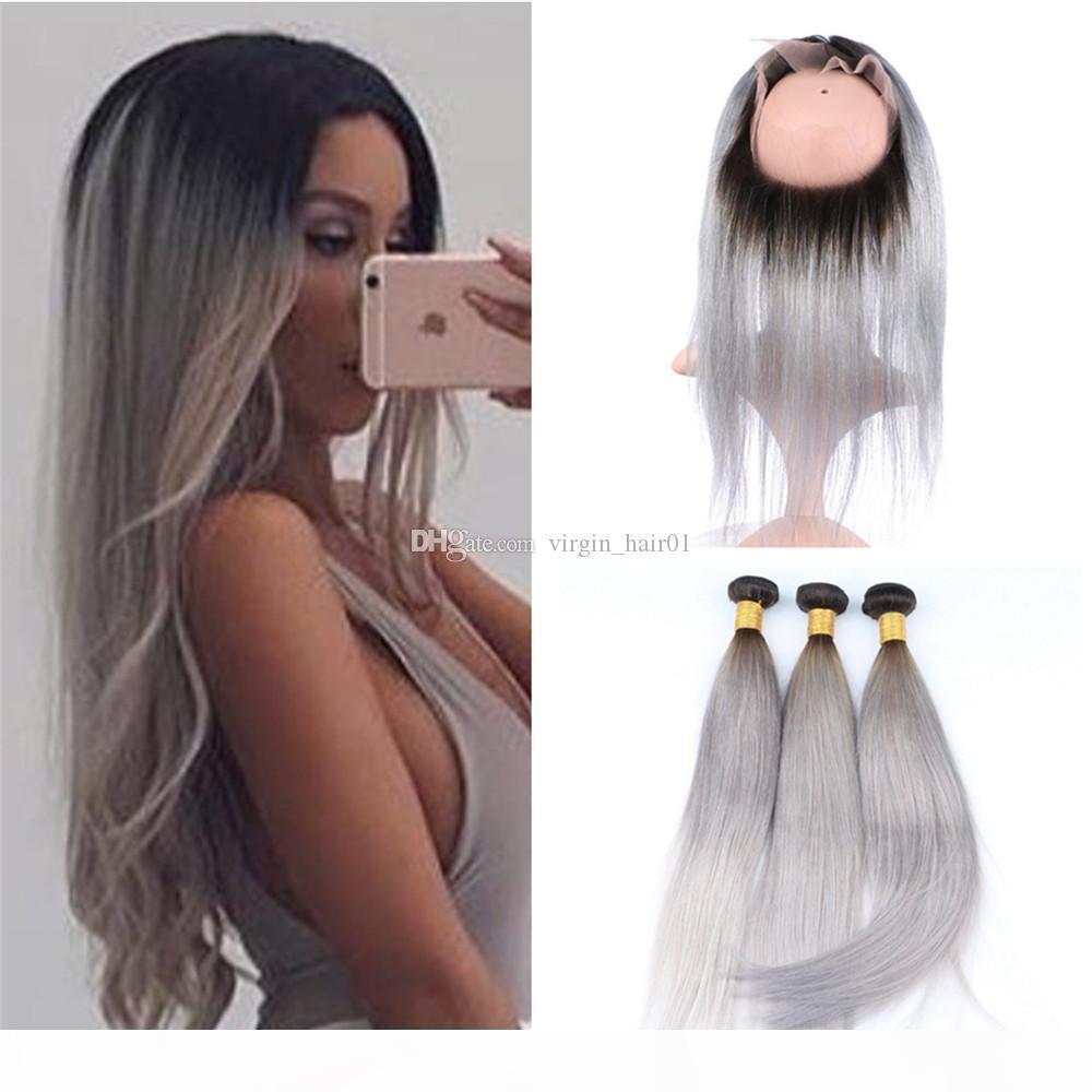 Серебристый серый темный корневой волосы ombre с 360 кружевной лобной крышкой два тон # 1b серый омбре шелковистые прямые пакеты волос девственницы