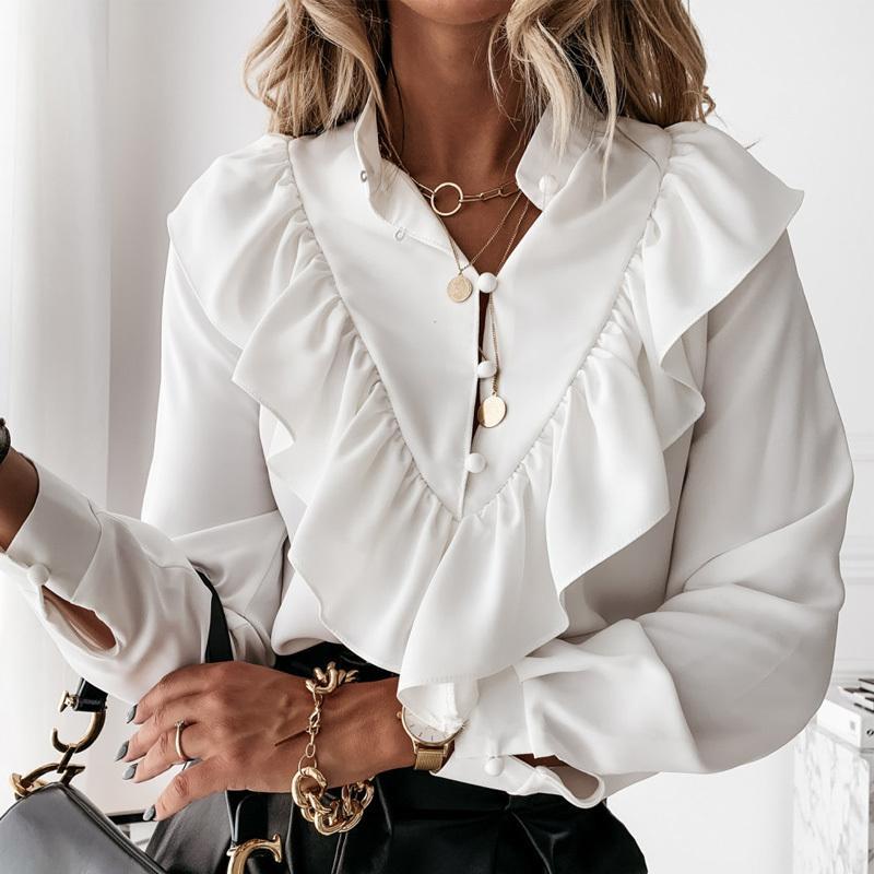 Урожай женская рубашка с длинным рукавом белая блузка F0114