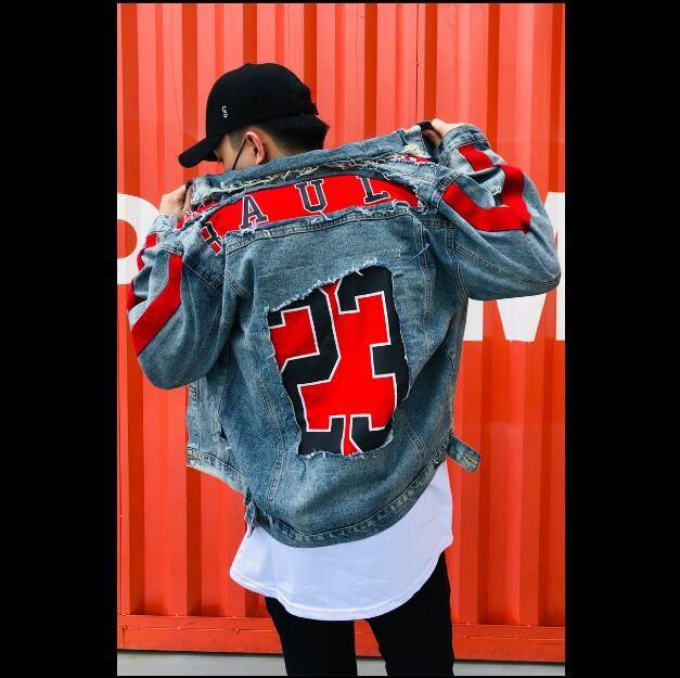 Fashion Red Patchwork Denim Jacket Men's Letter Printed Destroyed Hole Streetwear Hip Hop Blue Jeans Jacket Male