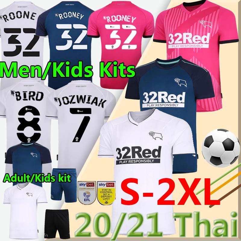 32 Rooney 20 21 Derby County Soccer Jerseys 2020 2021 Camisetas de Fútbol Marriott Lawrence Waghorn Men Kids Kits كرة القدم قميص موحد 2XL