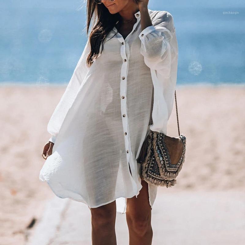 Cover-ups 2020 Chemise blanche Tunique Kimono Femme Femme Combinaison Femme Bikini Cover Housses Pareo Plage de baignade Couverture Ups Beachwear1