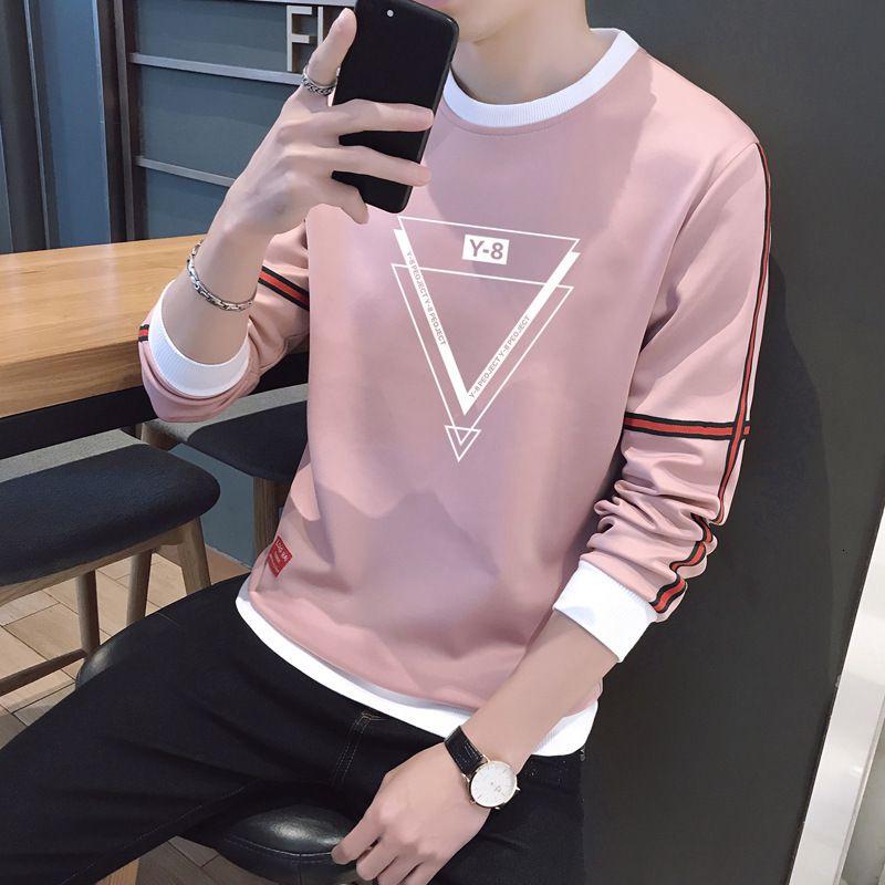 2019 primavera e outono manga longa round ne esportes solta maré marca t-shirt roupas roupas masculinas