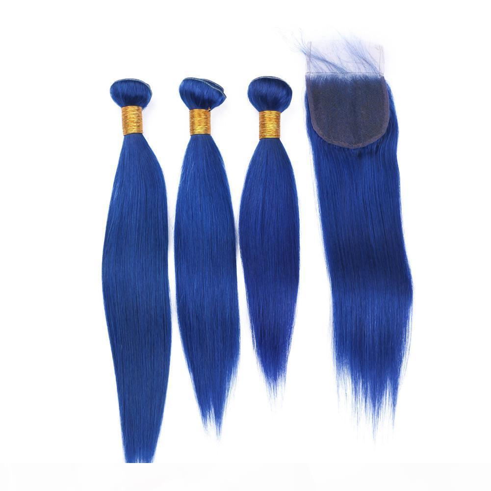 Brazilian Dark Blue Virgin Human Hair 3 Bundles with Top Closure Silky Straight Pure Blue Color 4x4 Front Lace Closure with Weave Bundles