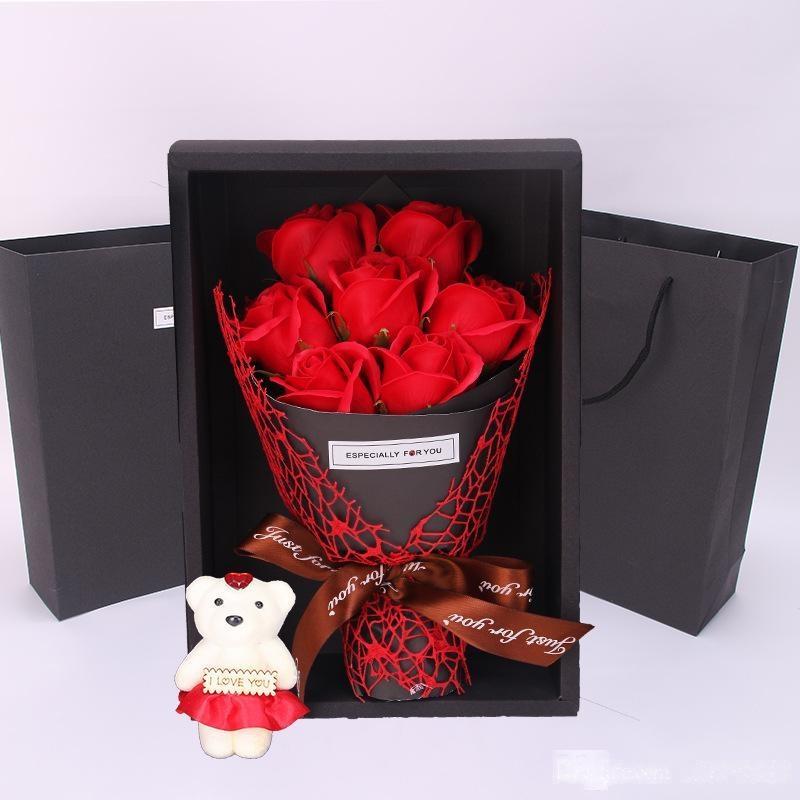 Romantische Valentine s Day Geschenk 7Pcs künstliche Rosen-Seifen-Blumen-Bouquet mit Bären-Geschenk-Box kreative Hochzeit Dekor Weihnachten Mutter s Tag Geschenke