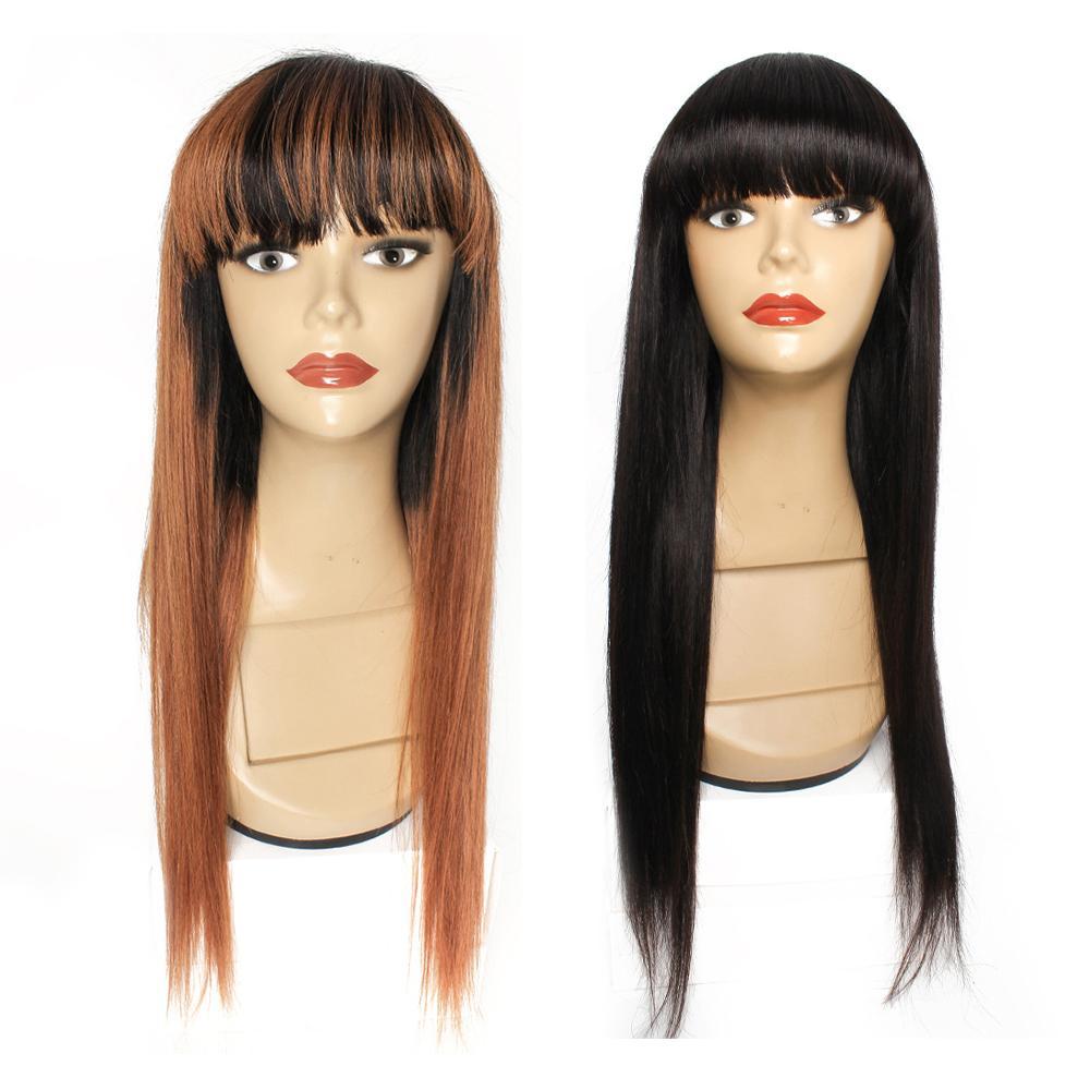 Full machine hergestellte Perücken mit Bangin indischem menschliches Haar Glueless Perücke schwarze mittelbraune Ombre Color Gerade Perücken