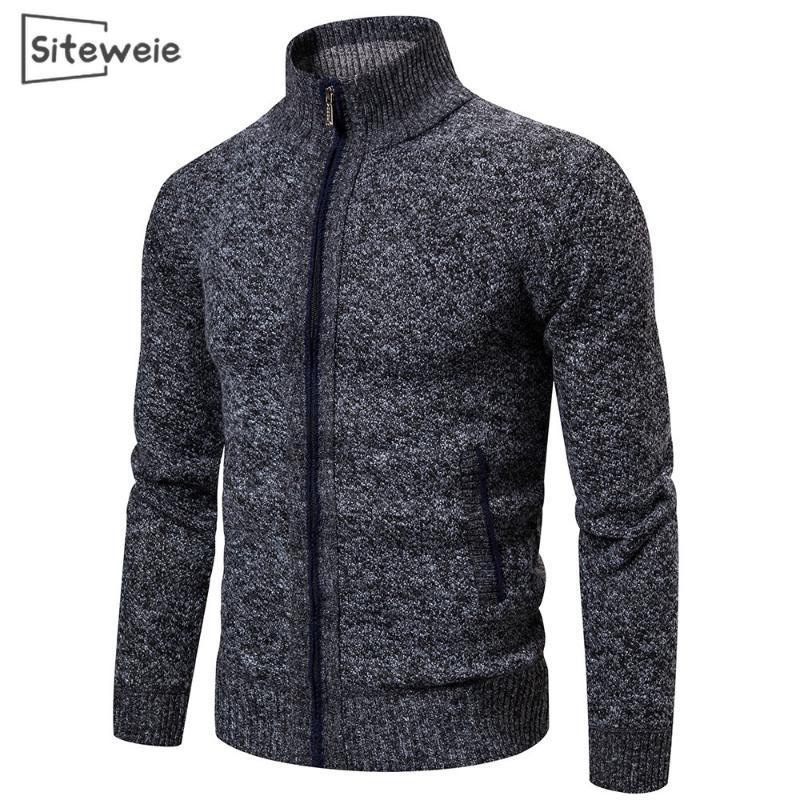 남자 스웨터 Siteweie 고품질 남성 가을 겨울 두꺼운 남성 니트 카디 건 패션 캐주얼 아빠 옷 Ropa de Hombre L538