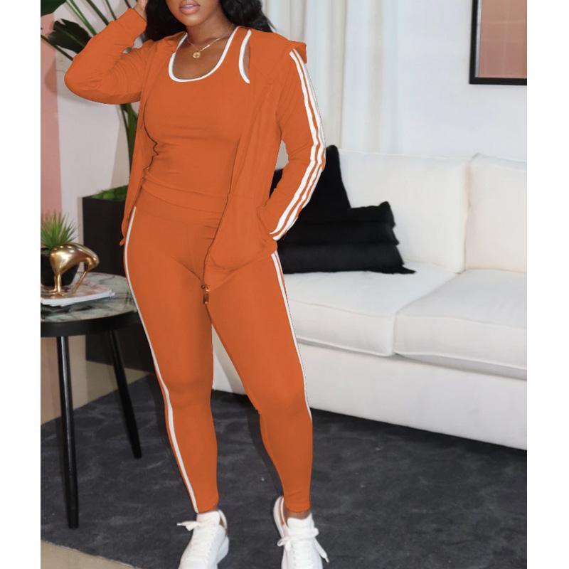 3 Parça Kadın Lounge Giyim Setleri Bayanlar Kıyafetler Sonbahar Eşofman Kadın Yeni Rahat Çizgili Hoody Yelek Pantolon 3 ADET Eşleştirme Setleri