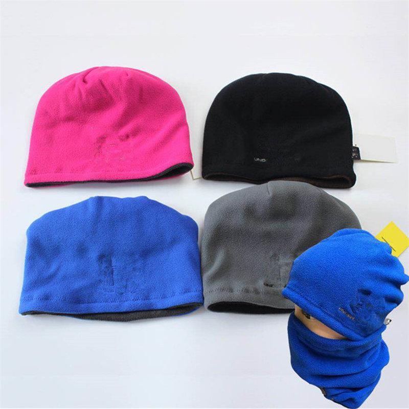 Unisex-Mützen Winter Fleece Hut und Schal Set Luxurys Hüte Winddichte Hals Gaiter Warme Schals Schädelkappen Sets Sports Beanie Halstuch DHL