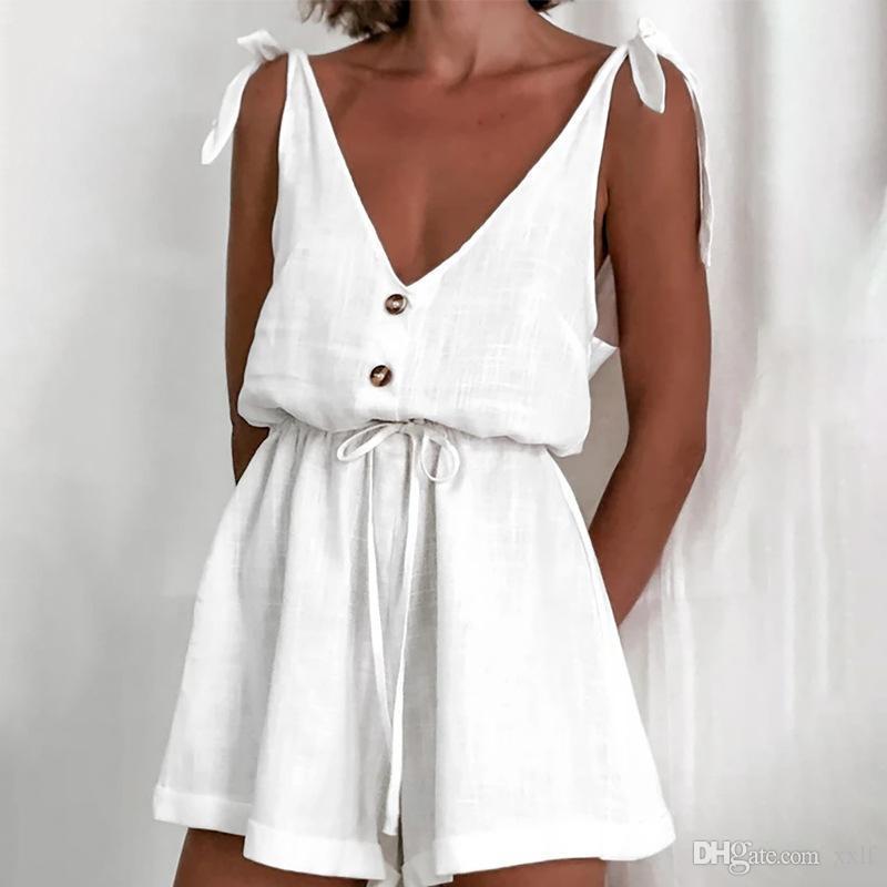 Sexy verão playsuits 2020 moda mulheres algodão casual botão sólido msfilia regular