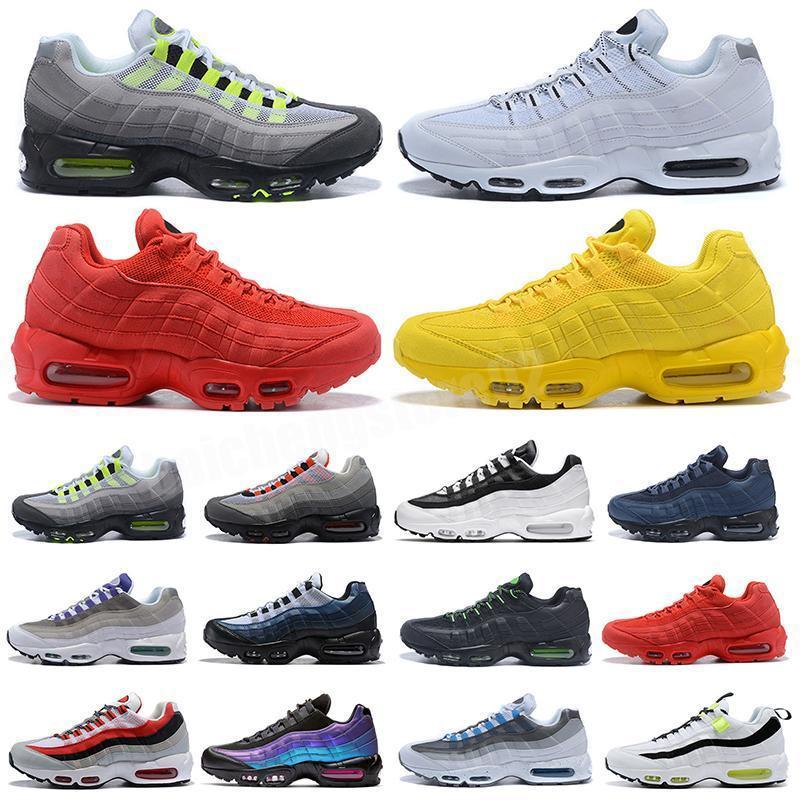 Yeni Drop Shipping Yüksekliği Kaliteli Erkek Spor 95 Ayakkabı Siyah Beyaz Erkekler En Iyi Atletik Yürüyüş Tenis Ayakkabıları Gri Adam Eğitim Sneakers