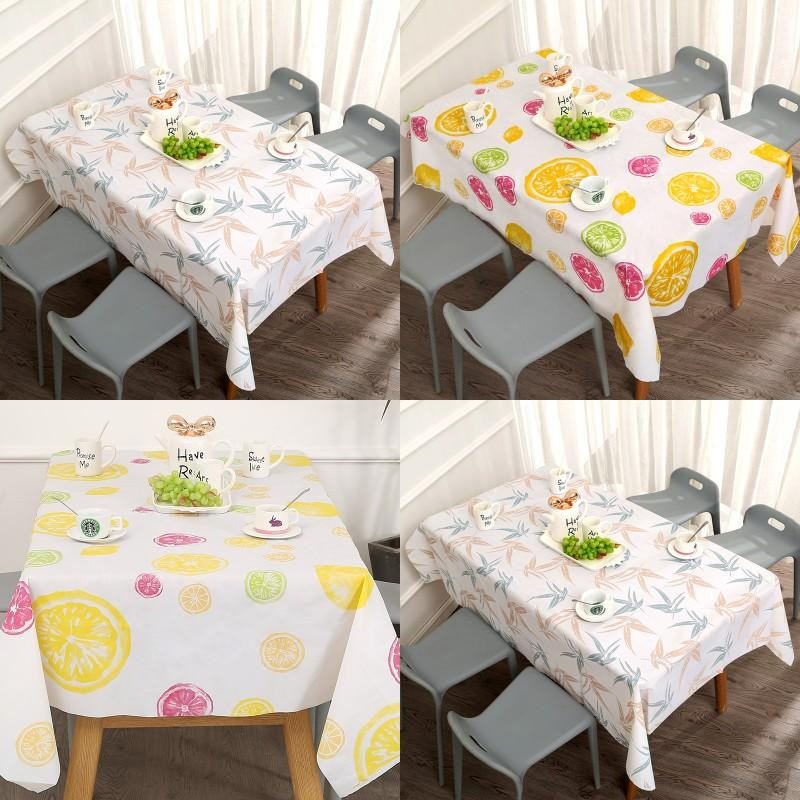 Lemon Strawberry Pattern Table Linen Rectangle Household Waterproof Oil Proof Wash Free Pvc Cartoon Tablecloth 4 6bs J2