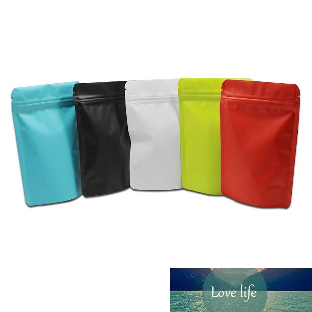 100pcs / lot plats colorés Pure aluminium feuille de feuille debout pour la fermeture à glissière Sac d'emballage à la fermeture à thé pour biscuit Pack DOYPACKS Mylar Pochette