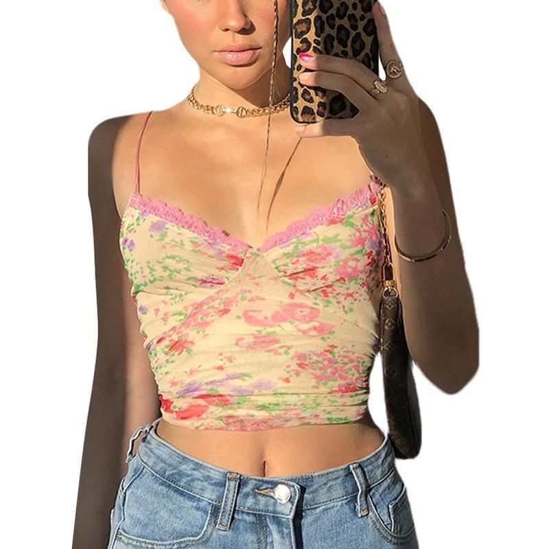 Lace verano top top tie tinte estampado casual v-cuello calle estilo de calle abierto espalda picnic partido sexy slim fit top
