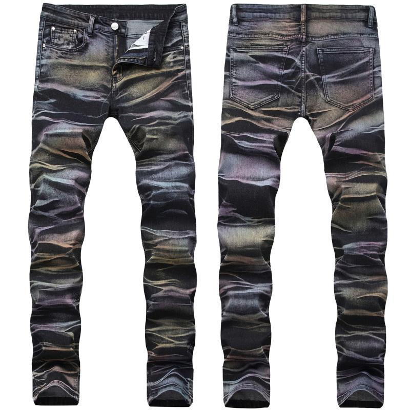 Design 2021 Nouveaux Jeans pour hommes Trendy Stretch Slim-Fit Rainbow Pantalon Hommes Mens Jeans Skinny Jean Noir Homme Hombre
