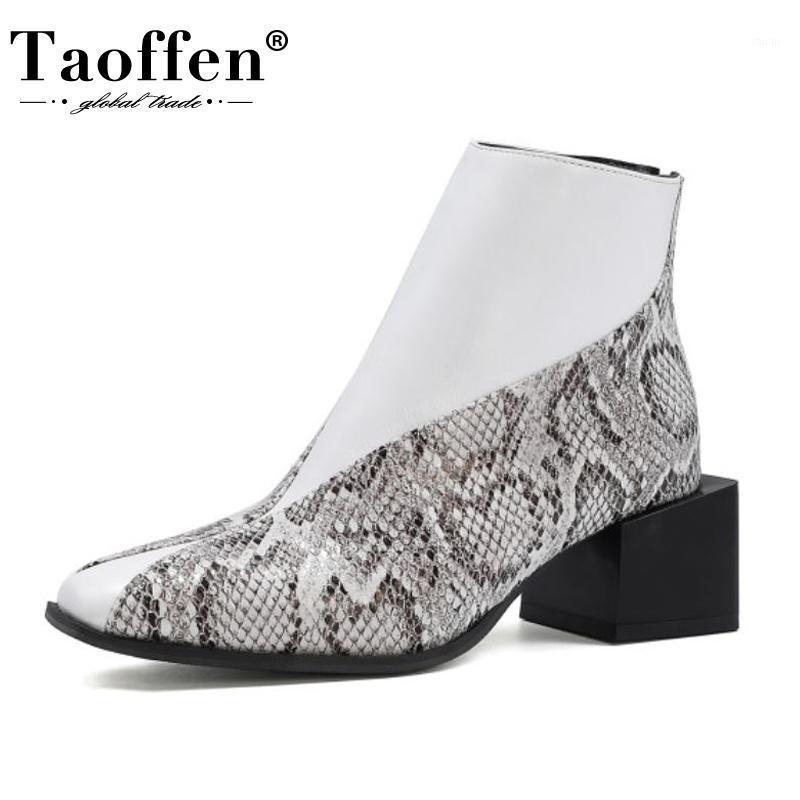 TaOffen Boyutu 34-43 Kadın Ayak Bileği Çizmeler Seksi Serpantin Kalın Topuk Kış Ayakkabı Kadın Moda Fermuar Kısa Boot Lady Ayakkabı1