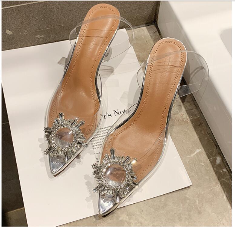 2021 Nouveau Design Femme Femme Femme Heels PVC Sandales Sandales Chaussure Casual Casual Court Court Heel Sandal Sandal Girls Nice Extérieur Pointé Toe 39 38 # P78