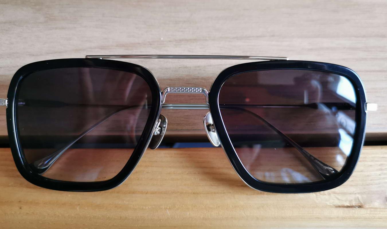 Lente óculos de sol moldura cinza de prata com máscaras 7806 negras homens óculos de sol óculos quadrados uv400 gradient caixa Iduxt