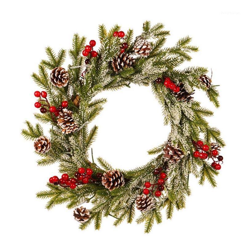 Dekorative Blumen Kränze Weihnachten Girlande PE Kiefer Kegel Rot Obst Kranz Romantische Dekoration Weißer Beflockung Anhänger mit Frostverzierungen