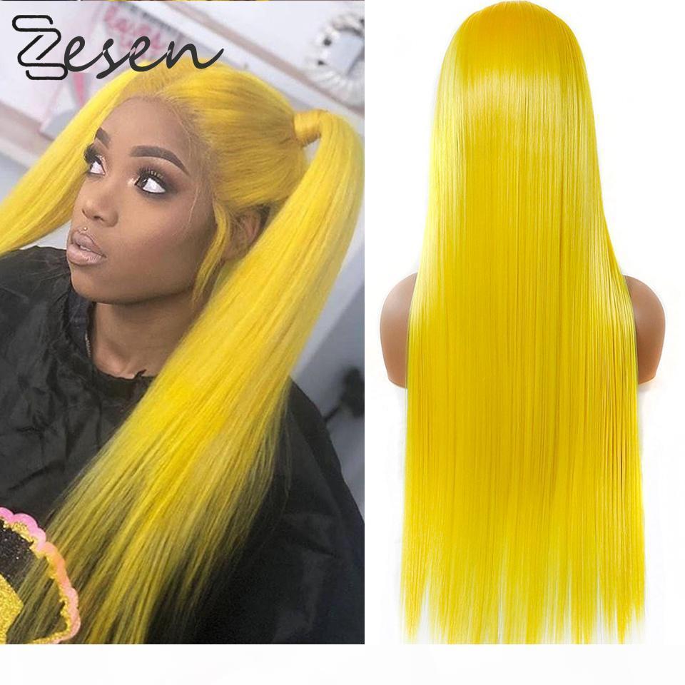 Zesen 13 * 4 perruques avant de la dentelle pour femmes jaune Synthetic longue perruque droite perruque intermédiaire Fibre résistante à la chaleur Naturelle
