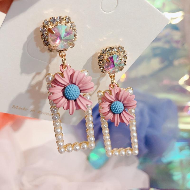 Mengjiqiao coréen Main de la main luxe élégant perle rectangle boucles d'oreilles boucles d'oreilles pour femmes de la fête en cristal Pendientes Bijoux cadeau