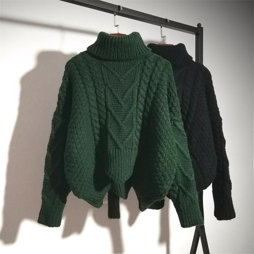 Женские свитера теплые водолазки пуловер поворот тянуть перемычки осень вязаные свитеры толстые теплые рождество 201223