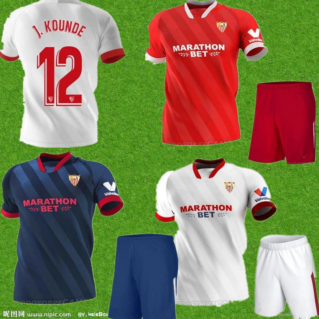 20 21 men FC Sevilla Soccer Jersey 5 OCAMPOS 10 EVER BANEGA 15 EN-NESYRI 16 NAVAS DE JONG EL HADDADI REGUILON Football Shirt Kits