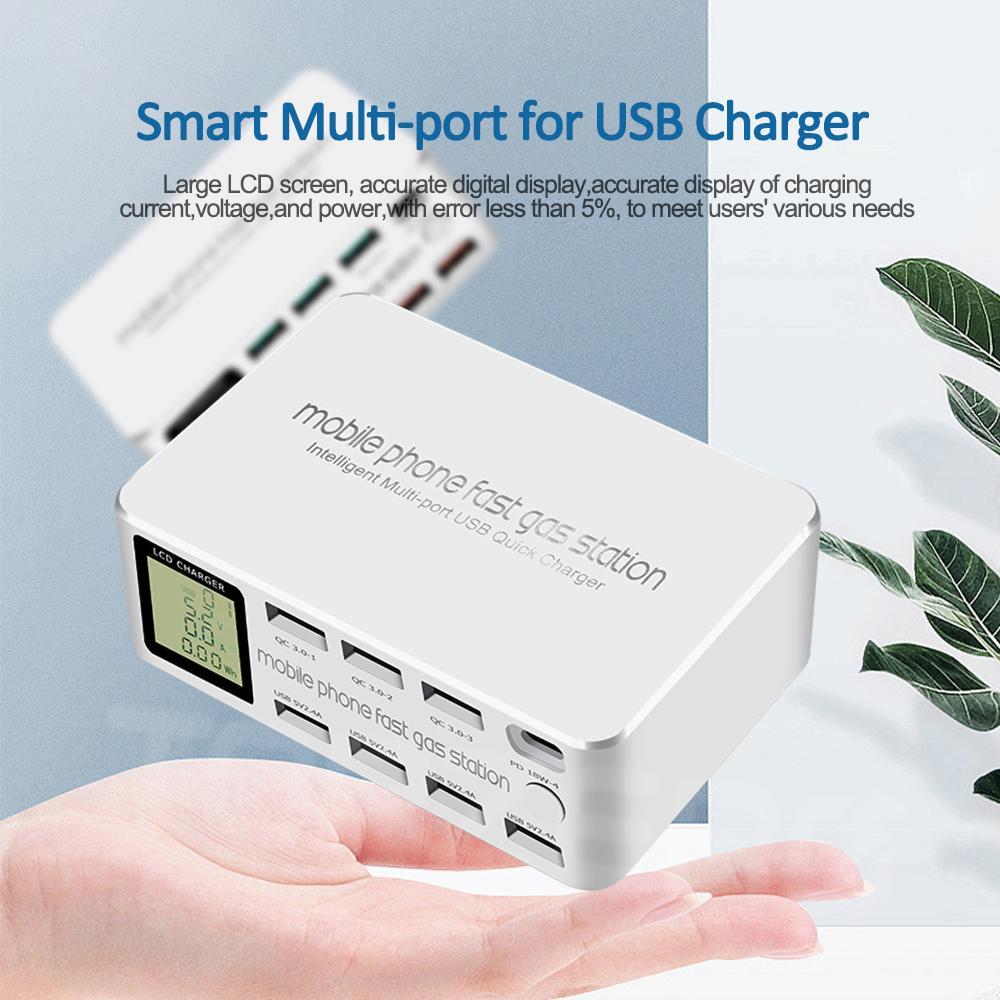100W 8-Port Fast Charging Station 1 PD Port Type-C 48W + 3 منافذ QC3.0 + 4 منافذ 2.4A USB متوافق مع جميع الهواتف الذكية