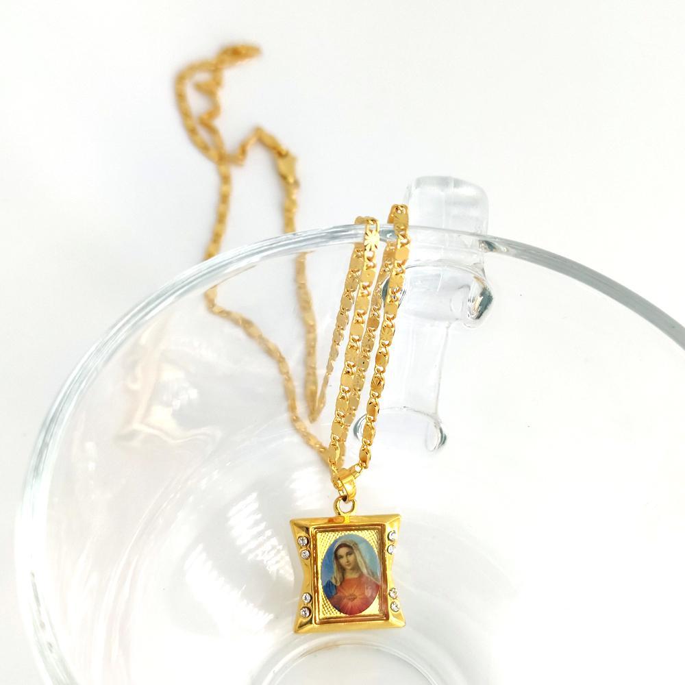 Leale Ciondolo Santo Madre 24 K Giallo Giallo Giallo Gold GF Fine CZ Lady Maria Dea Goddess Collana Collana Catena 60cm 20 * 21mm