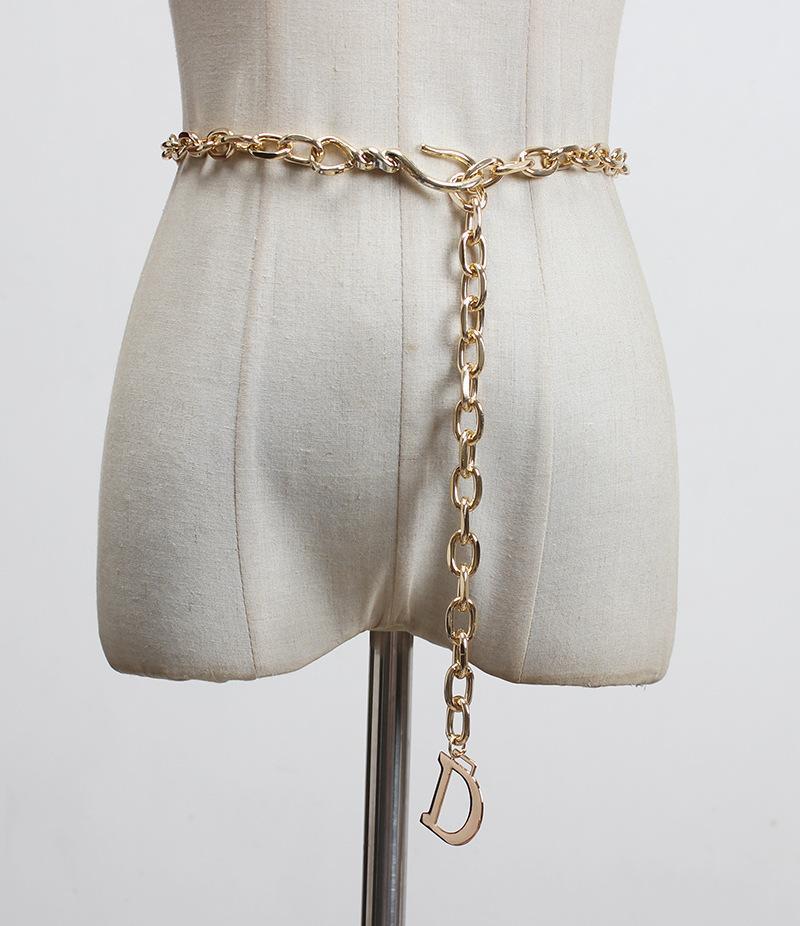 Trendy Magazine Style Style Lettera D Lega in vita Catena in vita Imitazione Cintura a catena in metallo in metallo