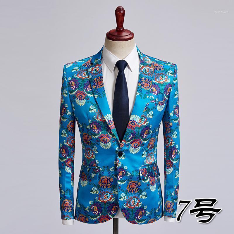 Мужские костюмы Blazers Мужская красочная полоса для печати Blazer Design Plus Size стильный повседневный мужчина Slim Fit Coket Wake Singer Prom Pook Outfit 6