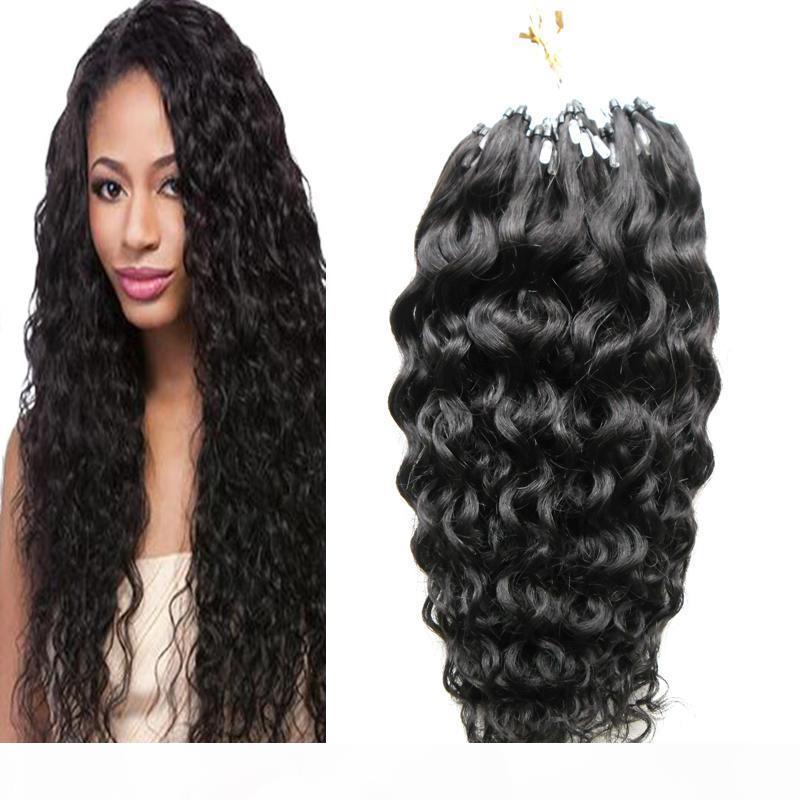 Extensões de cabelo humano da onda profunda brasileira Extensões de cabelo humano 100g 1G S 100S Remy micro cordão extensões de cabelo micro link extensões de cabelo humano