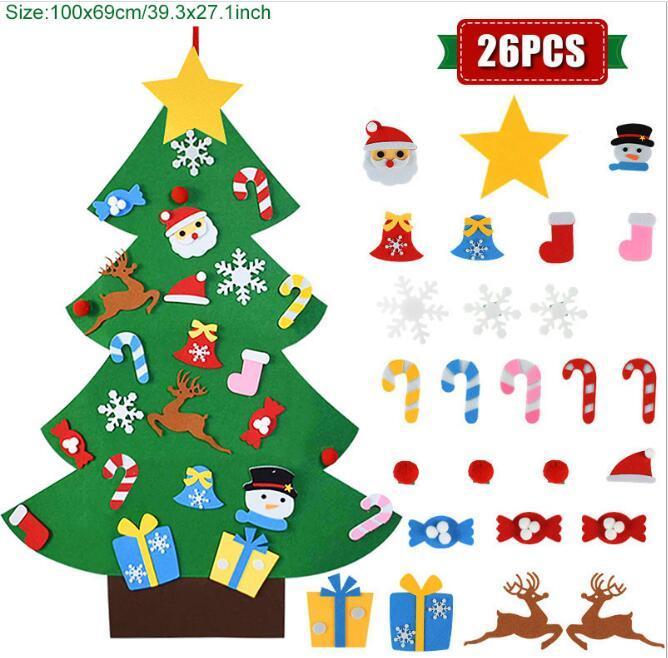 Çocuklar DIY Yılbaşı Süsleri Noel Baba Noel Ağacı Hissedilir ChristMastree Noel Dekorasyon Ev için 2021 Yeni Yıl Hediyeler