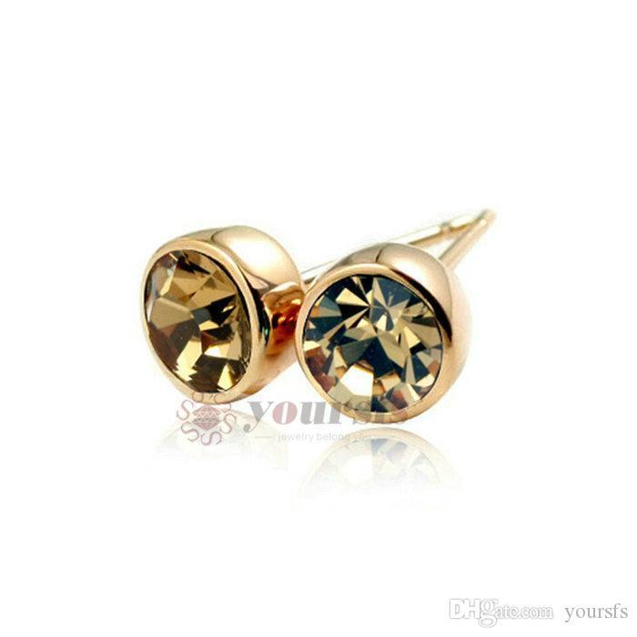 YourSFS Único Moda Orelha Earrings Brincos Studs jóias 18 K banhado a ouro branco usado Áustria Cristal para mulheres
