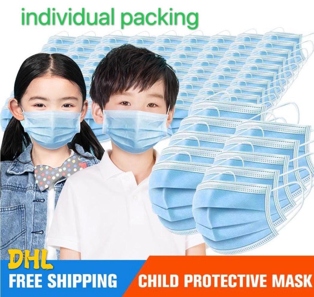Ягнится маски 3-15years Дизайнер маски для лица Маски для лица Моды Детей 3 слоев Одноразовых масок Защитных Kid РТА DHL 3--5days доставка