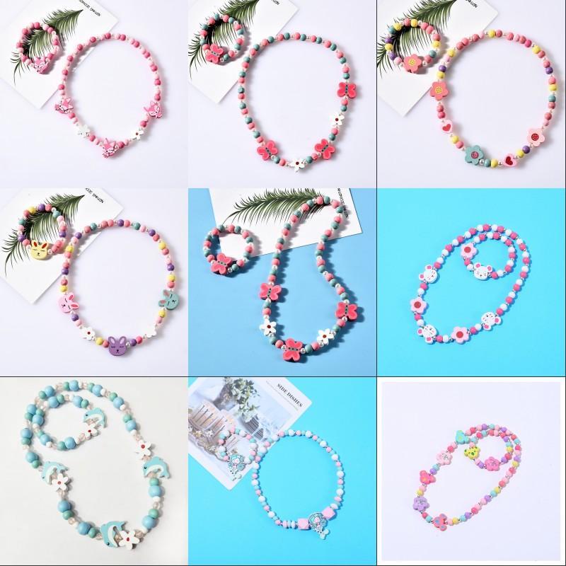 8 Stili Collana per bambini Set Accessorio Perle colorate Colourful Fox Coniglio Unicorno Perline di Charm Collana e braccialetto Bracciale Bambini Ragazza regalo di compleanno 355 J2