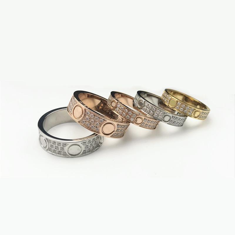 Anéis de jóias Titanium Aço Noivado Anel de Casamento 2/3 Linhas Zircon Diamante para Homens e Mulheres 2 Color Select