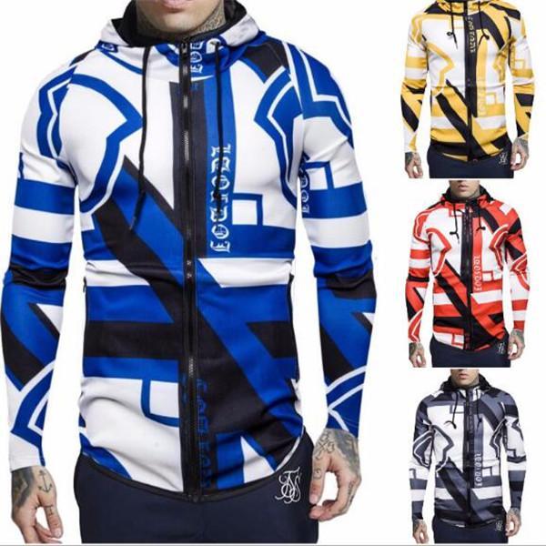 Giacca da ciclismo sportiva da uomo stranieri da uomo in Europa E America e America Blocco Elastico Elastico Stampa con cappuccio Tide Maglione Giacche Cappotti Cappotti Cappotti