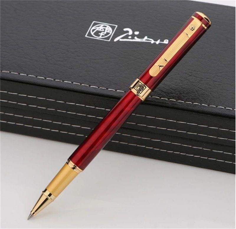 أعلى فاخر بيكاسو 902 القلم النبيذ الأحمر الذهبي تصفيح نقش الأسطوانة الكرة القلم اللوازم مكتب الأعمال الكتابة خيارات سلسة الأقلام مع مربع
