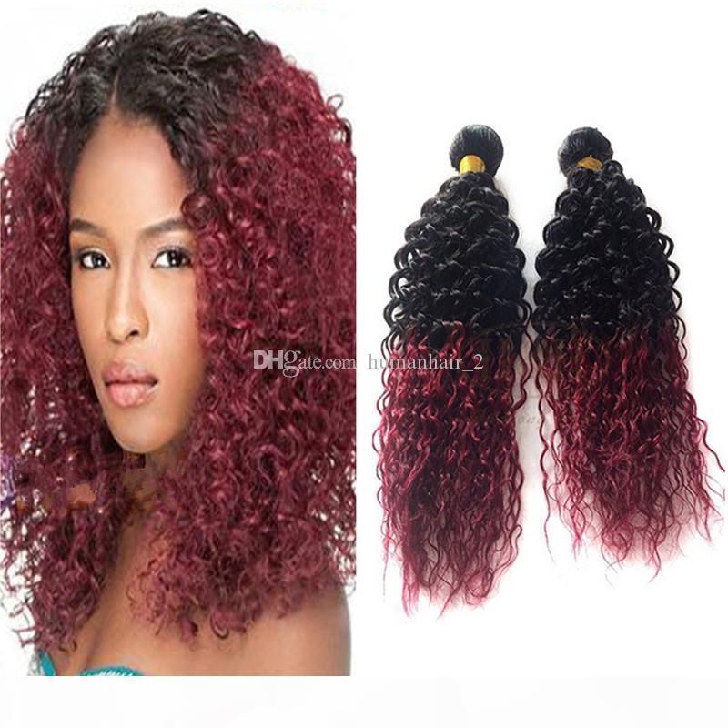 Deux tonalité Noir à Bourgogne Ombre Extensions de cheveux Tissu 9a Péruvien Vierge Cheveux Vague Corps Hair Cheveux Humains 3 Bundles 1B 99J Vin rouge